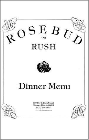 A page from the menu of the Rosebud on Rush restaurant in Chicago